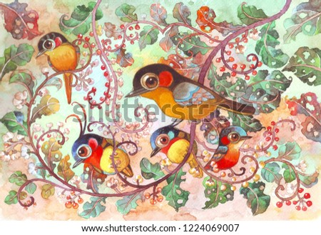 Sweet Family Jungle Hand Made Watercolor Painting Stock Illustration