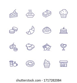 Sweet food icons. Set of line icons on white background. Cafeteria, teapot, pastry. Cafe concept. can be used for topics like food, menu, unhealthy eating