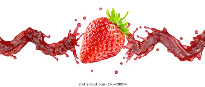 Sweet fresh strawberry juice or jam splash swirl with strawberry. Red berry juice splashing - strawberries juice isolated. Liquid healthy food or drink fruit design element. Clipping path. 3D render