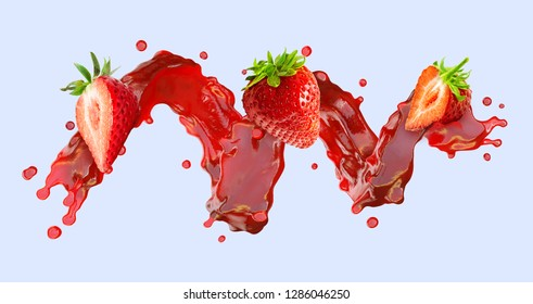 Sweet fresh strawberry juice splash swirl with strawberries. Red berries juice splashing - strawberries juice in spiral form isolated. Liquid healthy food design element. Clipping path. 3D render