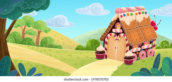 Sweet house for kids in a colorful forest, the house is made up of candies, cakes, lollipops, different sweets, cartoon illustration background