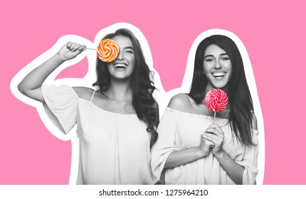 Sweet life. Magazine style collage of two millennial girls having fun with lollipops, grimacing on pink background