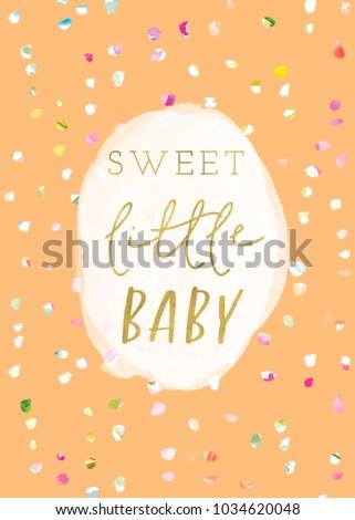 Sweet Little Baby Shower Card Printable Stock Illustration Royalty