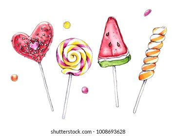 Sweet lollipops isolated on white background. Watercolor hand painted illustration.