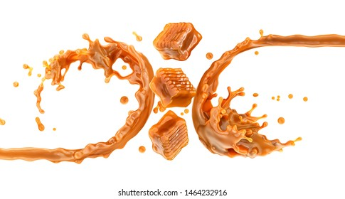 Sweet melted caramel, liquid caramel sauce or sweetened milk swirl 3D splash with toffee candies. Delicious sweet caramel fudge toffee candies and sauce. Commercial design element isolated on white
