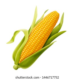 Sweet organic corncob in 3d illustration on white background