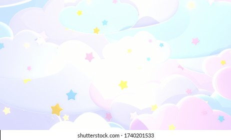 Sweet pastel clouds and stars background. 3d rendering picture.