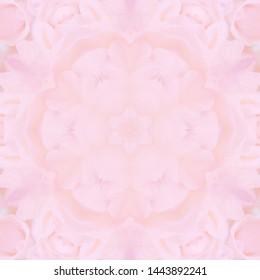 Sweet pastel pink seamless pattern, Kaleidoscope effect