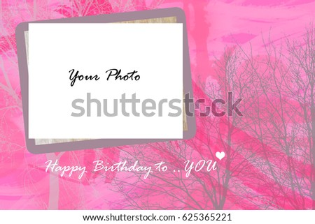 Sweet Pink Birthday Card Space Add Stock Illustration 625365221