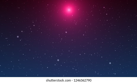 Sweet Red Light In The Blue Darkness Background With Snowfall In The Wind