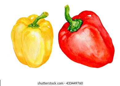sweet red and yellow pepper.illustration of watercolor.natural products fresh vegetables