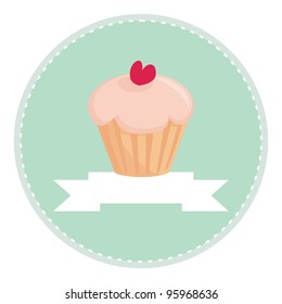 Sweet retro cupcake with heart on mint green background with white place for your own text. Button, logo, sign, flat design element, symbol or invitation card. Vector illustration