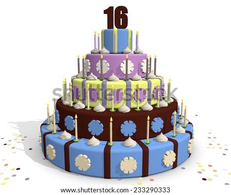 Sweet Sixteen Chocolate Party Cake Celebrating Stock Illustration
