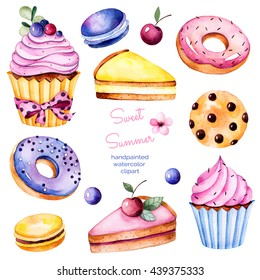 Sweet summer collection with donuts,berries,lemon and cherry cheesecakes, cherry,macaroons,tasty cupcakes,cookies.Colorful collection with 13 watercolor elements.Lovely sweet collection for you create