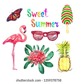 Sweet summer watercolor isolated illustration set, Monarch butterfly, glasses, striped ice cream, flamingo, New South Wales waratah (Telopea speciosissima) red flower and pineapple