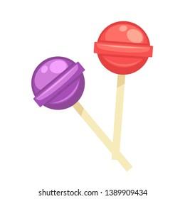 Sweet tasty round lollipops on wooden sticks  illustration
