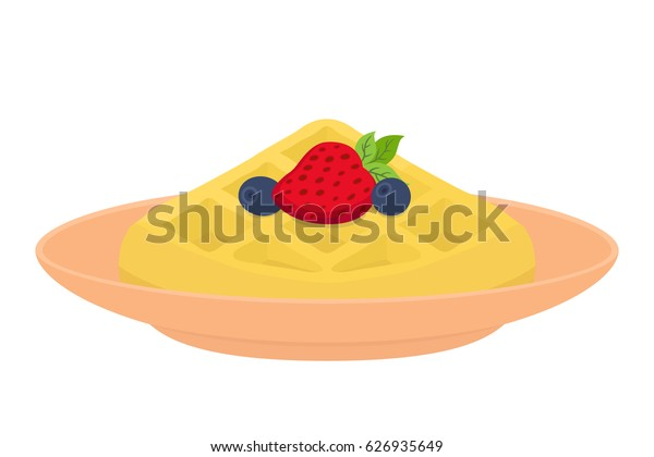 Sweet waffle with berries for breakfast. Strawberry, blueberry on plate. Made in cartoon flat style. Restaurant meal with maple syrup.