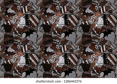 Sweets background design. Seamless pattern with sweet Cupcakes pattern. Nice birthday background on brown, black and white. Raster illustration.