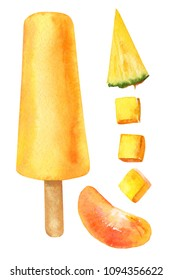 sweets and fruits, fruit ice and ice cream,  piece of pineapple, mandarin slice, mango cubes, summer elements set on isolated white background, watercolor illustration, hand drawing