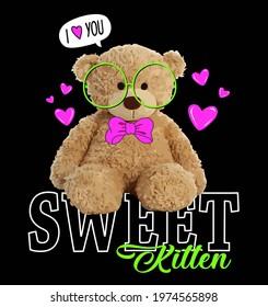swett kitten bear,sweet  love slogan