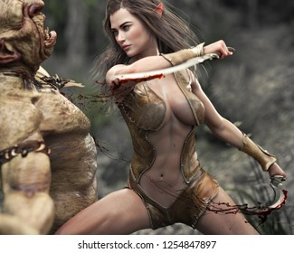 Swift female wood elf warrior making quick work of an attacking troll. 3d rendering
