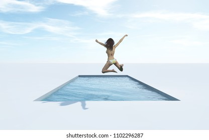 Swim jumping in the pool. This is a 3d render illustration