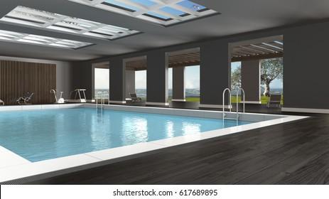 Swimming pool interior design, indoors with big panoramic windows and sea landscape, 3d illustration