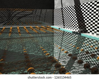 Swimming pool with light and shadows, 3d rendering