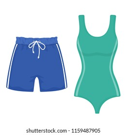 Swimsuit and swimming trunks on white background, cartoon illustration of beach accessories for summer holidays.