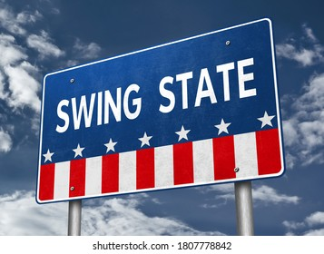 Swing State - 3D-Illustration roadsign. Presidential race in America