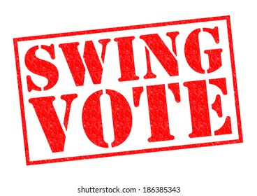 SWING VOTE red Rubber Stamp over a white background.