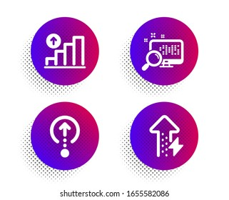 Swipe up, Search and Graph chart icons simple set. Halftone dots button. Energy growing sign. Scrolling page, Find file, Growth report. Power usage. Technology set. Classic flat swipe up icon.