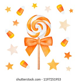 Swirl lollipop, striped candy corns, various stars decoration mix. Hand drawn watercolour drawing, cutout clip art elements for party, scrapbook. Traditional Halloween goodies, seasonal greeting card.