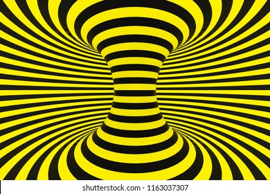 Swirl optical 3D illusion raster illustration. Torus, tube inside view image. Black and yellow hypnotic stripes pattern. Lines, loops, circles endless effect. Contrast, psychedelic police background