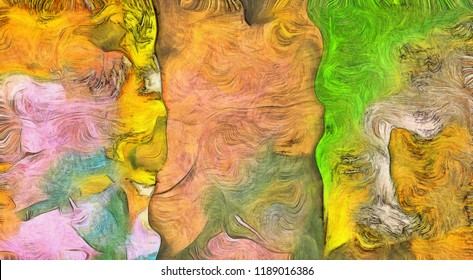 Swirling Color Abstract. Canvas texture. 3D rendering