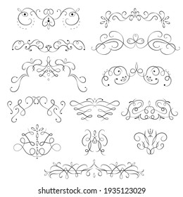 Swirling Floral Elements Black Thin Line Icon Set for Web and App Design. illustration of Swirl Icons