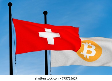 Swiss flag and Bitcoin Flag waving over blue sky (3D rendering)