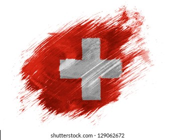 The Swiss flag  painted with brush on white background