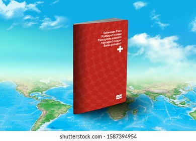 Swiss Passport - Official Identity Document for Travel and Tourism over world map with clouds in background - 3D Illustration