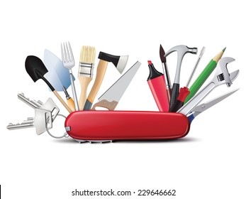Swiss universal knife with tools. All in one. Creative illustration