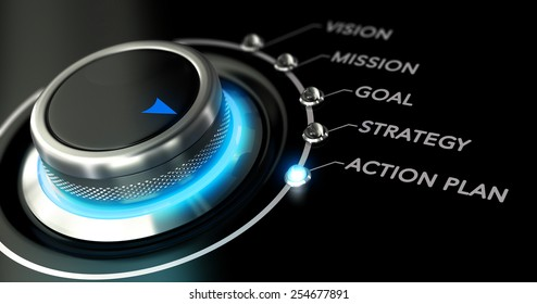 Switch button with blue light, black background. Conceptual image for illustration of business action plan.