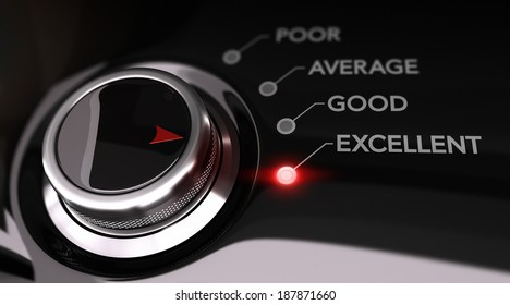 Switch button positioned on the word excellent, black background and red light. Conceptual image for illustration of customer service satisfaction or client satisfaction.