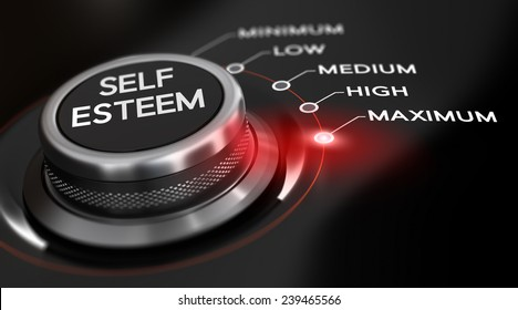 Switch button positioned on the word maximum, black background and red light. Conceptual image for illustration of self esteem.