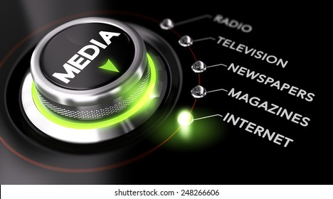 Switch button positioned on the word internet, black background and green light. Conceptual image for illustration of Marketing Advertising Campaign and communication strategy