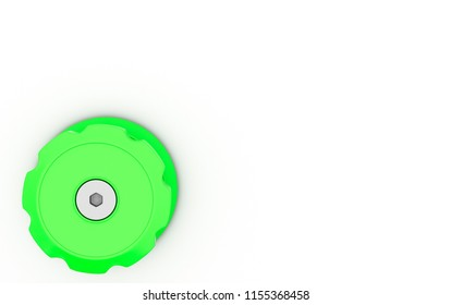 Switch green in corner on white background 3d illustration
