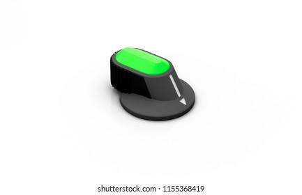 Switch on off black on white background 3d illustration