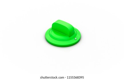 Switch on off green on white background 3d illustration