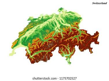 Switzerland Elevation Map.3d Map Switzerland Images Stock Photos Vectors Shutterstock