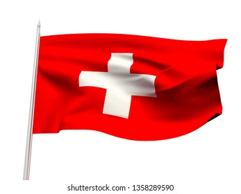 Switzerland flag floating in the wind with a White sky background. 3D illustration.
