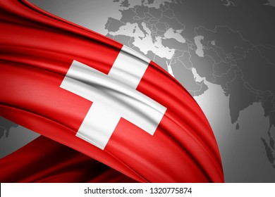 Switzerland flag of silk with copyspace for your text or images and world map background-3D illustration